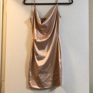 Champagne Satin Dress - NWT - Fitted